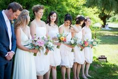 As featured in BRIDES.COM Blush chiffon bridesmaids dresses | by Elika In Love. www.elikainlove.com Bridesmaids, Bridesmaid Dresses, Wedding Dresses, Chiffon, Blush, Fashion, Bridal Dresses, Moda, Bridal Gowns