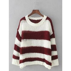 Striped Openwork Knitwear ❤ liked on Polyvore featuring tops, sweaters, white striped top, knitwear sweater, stripe top, striped top and white striped sweater