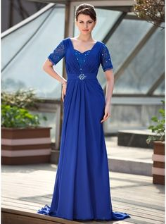A-Line/Princess Sweetheart Sweep Train Ruffle Beading Sequins Zipper Up Sleeves Short Sleeves 2014 Royal Blue Spring Summer Fall General Plus Chiffon Mother of the Bride Dress