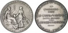 EGYPT. SUEZ CANAL. OPENING OF THE SUEZ CANAL. AR Medal, 1869 by Oscar Roty. Obv: Seated female figure holding torch, receiving a globe, with a map of the canal in the background. Rev: Seven lines legend.
