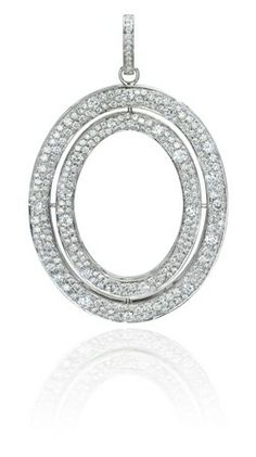 Ivanka Trump signature oval pendant in 18k white gold with diamonds