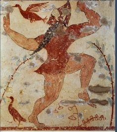 "Fresco, ""Tomb of priests"", Tarquinia, Italy.  The fresco shows a masked man called ""phersu"". ""Phersu"" in Etruscan meant ""mask"". The ""phersu"" was a man with a mask and had a dog."