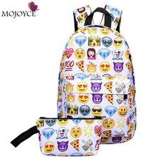 fa2f3bbdb570 2017 Leisure Waterproof Nylon Women Travel Backpack 3D Smiley Emoji Face Printing  School Bag for Teenage Girls 2pcs Bag Mochila