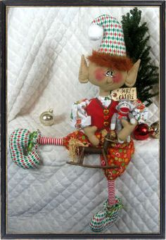 "♥♥ Primitive Christmas 28"" ""Sherman The Elf"" Toy Maker Elf w Toy Ornies ♥♥ | eBay"