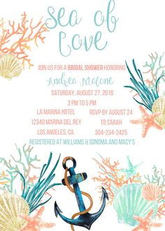 Beach Bridal Shower Invitation Under the Sea Invitation Beach