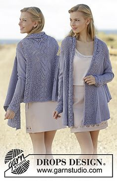 Knitted jacket worked in a square with lace pattern on the back in DROPS BabyAlpaca Silk. Size: S - XXXL