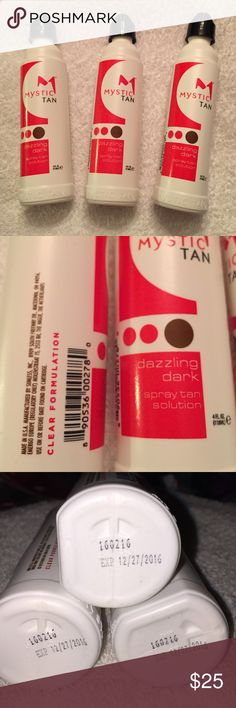 Mystic Spray Tan Solution Dazzling Dark 4fl oz I have 3 sealed Sunless Mystic Spray Tan Solutions. Each is 4fl.oz.  Color is Dazzling Dark.  All of them has an expiration of December 27, 2016. They are used for Self tanning booths or airbrush sprays. All three are clear formulation and are manufactured in the USA.   Please feel free to ask any questions and thank you for stopping by. Mystic Tan Other