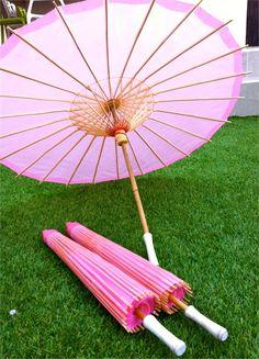 Soft Pink Silk Parasols For Bridal Parties