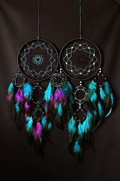 Cazador de sueños sueño catcher negro/turquesa/púrpura color