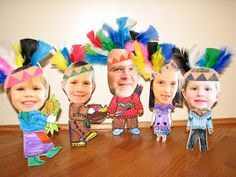 Indian dolls for Thanksgiving table place cards. Could mix some pilgrims in there, too!  Perfect kid project!