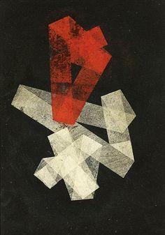'Folded Strips in Red & White on Black' by Hermann Glöckner, 1933. Collage, Japan paper, paint on cardboard.