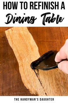 furniture makeover Learn how to refinish a dining table easily! Get all my tips for sanding or stripping furniture to give it a whole new look. Give your old dining table or kitchen table a makeover with this DIY tutorial thats perfect for beginners! Cheap Furniture Makeover, Diy Furniture Renovation, Furniture Ideas, Barbie Furniture, Furniture Design, Garden Furniture, Unique Furniture, Furniture Nyc, Furniture Showroom