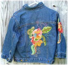 hand embellished little lady jean jacket