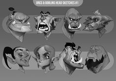 Orc & Goblin head sketches #1, Max Grecke on ArtStation at http://www.artstation.com/artwork/orc-goblin-head-sketches-1