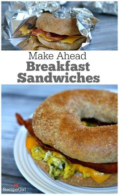 Make Ahead Breakfast Sandwiches - Recipe Girl to make ahead, freeze and then bake to warm up on busy mornings. Kid friendly, grab and go! Breakfast Desayunos, Make Ahead Breakfast Sandwich, Breakfast Sandwiches, Breakfast Ideas, Make Ahead Breakfast Gluten Free, Freezer Sandwiches, Bagel Sandwich, Sandwich Ideas, Brunch Recipes