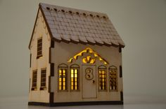 Delicate laser cut nightlight (medium) - an original design, cut and etched into ply wood which houses a battery-operated tea light Laser Cutter Ideas, Laser Cutter Projects, Putz Houses, Village Houses, Doll Houses, 3d Laser, Home Candles, Scroll Saw Patterns, Miniture Things