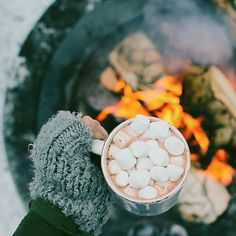 The white color in the marshmallows is repeated in the snow and a little in the fire wood