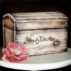 For Katie, you can use your wood burning tool to make something like this.  But also burn your names on it.  [Shabby Chic Wedding Card Box]