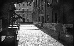 https://flic.kr/p/gbp8 | The Old Distilleries Area - Toronto | recently redeveloped part of eastern edge of downtown Toronto...old distillery buildings with cobblestone lanes now used as restaurants, bars, artists' galleries...taken on a quiet Monday....FP-4 BW film developed by me. Camera Bessa R with 35mm lens
