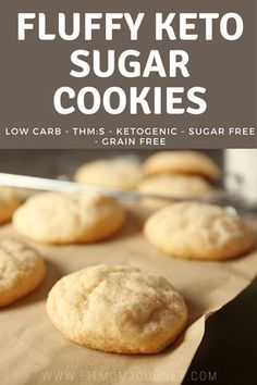These Fluffy Keto Sugar Cookies will change your life! So easy to make fit your macros perfectly and free of grains and sugar! These Fluffy Keto Sugar Cookies will change your life! So easy to make fit your macros perfectly and free of grains and suga Low Carb Deserts, Low Carb Sweets, Desserts Keto, Keto Snacks, Simple Keto Desserts, Easy Keto Dessert, Almond Flour Desserts, Coconut Flour Cookies, Keto Peanut Butter Cookies