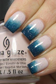 Ombre Glitter Nails.