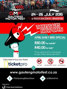 The annual Gauteng Motor Fest is once again gearing up to deliver it's highly anticipated one-stop extreme 'moto-tainment' show. Ticket Sales, R80, Business Essentials, Only Child, Exhibitions, South Africa, Events, Kids, Young Children