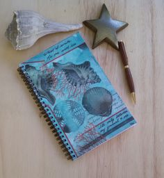 Wire Bound Writing Journal; FREE SHIPPING; Original Mixed Media Art on Blank Notebook; between my journal and me by KatStudioGallery on Etsy