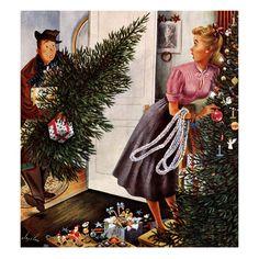 """Tree Love"", December 23, 1950  Constantin Alajalov"