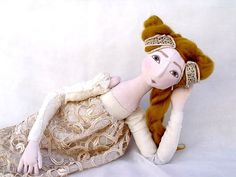 OOAK jointed art doll Handmade Soft Sculpture Fabric Art Doll gold mustard handsewn handpainted romantic christmas cloth doll princess