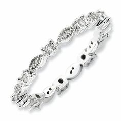 Sterling Silver Stackable Expressions Polished Diamond Ring QSK652 #diamond #wedding #anniversary #band #vintage #sopretty