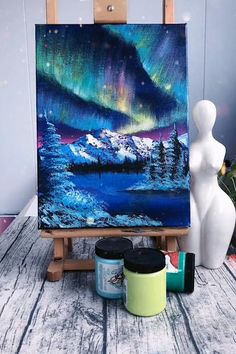 Diy Art Painting, Painting Art Lesson, Nature Art Painting, Amazing Art Painting, Diy Canvas Art Painting, Creative Painting, Canvas Painting Tutorials, Northern Lights Painting, Diy Canvas Art
