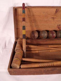 Victorian Croquet Set In Original Wood Chest