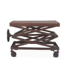 New 36 L Adjustable Accent Table Industrial Hand Crank Reclaimed Woods with Metal. Steampunk Furniture, Vintage Furniture, Metal Furniture, Adjustable Coffee Table, Lift Design, Wooden Side Table, Cool Tables, Industrial Table, Floral Wall Art