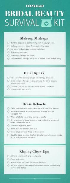 Found: Your bridal beauty survival kit. Pin now and use it to pack!