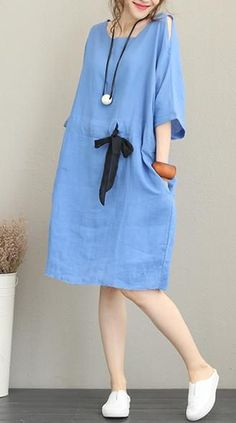5d4f38ca4a7 Fine blue Midi-length linen dress oversize linen clothing dress top quality  waist drawstring bracelet sleeved knee dresses