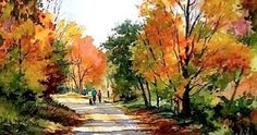 Autumn Stroll by Connie Berberian Watercolor Trees, Watercolor Landscape, Watercolour Painting, Landscape Art, Landscape Paintings, Landscape Photography, Watercolours, Autumn Painting, Autumn Art