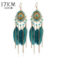 Long Feather Drop Earrings Tassel Bead