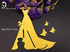 Резка металла умирает высечки 4 шт. женские свадебные платье невесты Бабочка модель show Записки карты крафт-бумаги тиснение трафареты удар