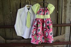 Brother and Sister Set - Boys Neck Tie 0 to 6 months to boys size 10 and Girls matching Dress-12 months to girls size 8. $42.00, via Etsy.