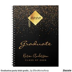 Shop Graduation party 2020 graduate black gold confetti notebook created by EllenMariesParty. Personalize it with photos & text or purchase as is! Graduation Thank You Cards, College Graduation Gifts, Graduation Celebration, Graduation Party Decor, Graduation Invitations, Gold Caps, Gold Confetti, Office Stationery, Graduation Announcements