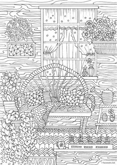 Country Spring – Comfy Porch coloring page