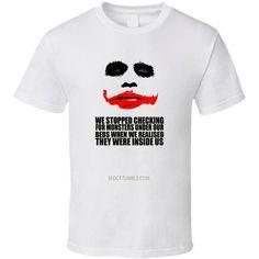 Dc Joker Batman Monster White T Shirt ($21) ❤ liked on Polyvore featuring tops, t-shirts, black, women's clothing, cotton shirts, white cotton tee, black white shirt, black cotton shirt and t shirts