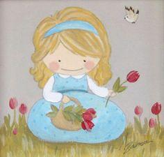 Aida Zamora - Art for kids. Custom paint. Cuadro infantil personalizado. Basket of Flowers