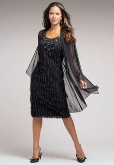 e9dac554538 Roamans Plus Size Ruffle Front Black Shift Dress   Sheer Jacket Set Grooms  Mom Dress