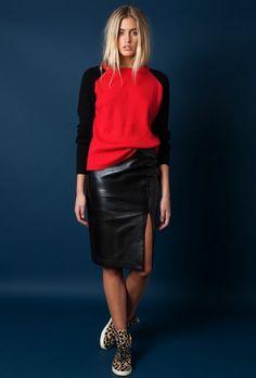 4 ways: sweater leather skirt leopard kicks