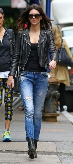 f90d5a2da56c57 Kendall Jenner stepped out in NYC wearing a motorcycle jacket over black  lacy tank top and skinny jeans, paired with black ankle length boots. via  ...