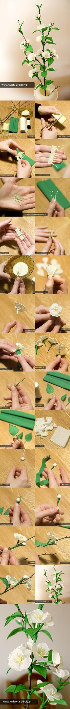 DIY Delicate Crepe Paper Cherry Blossom Sprig www. Fake Flowers, Diy Flowers, Fabric Flowers, Flower Crafts, Flower Art, Blossom Flower, Fleurs Diy, Diy Papier, Tissue Paper Flowers