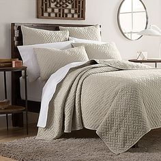 Dress your bed in contemporary style with the refined Kennedy Quilt Set. Adorned with a soft garment wash, distressed details and offered in an array of easily coordinating colors, this quilt can add a layer of comfort anywhere. King Quilt Sets, King Bedding Sets, Queen Quilt, Best Bedding Sets, Luxury Bedding Sets, Modern Bedding, Where To Buy Bedding, European Pillows, House Beds
