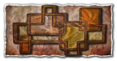 Connected Illusion Abstract Art Metal Wall Mural, Stohans Showcase.  Modern art metal wall panel consisting of two metal layers adding a three dimensional effect with the layer in the foreground having openings which creates an optical illusion. The artists paint selection offers a mixture of muted warm colors with shades of brown, yellow, and orange. This enchanting attractive metal wall sculpture will compliment numerous home decor arrangements.
