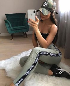 Outfit: 1234 or Teenage Outfits, Sporty Outfits, Cute Casual Outfits, Swag Outfits, Mode Outfits, Girl Outfits, Summer Outfits, Fashion Outfits, Fashion Hair